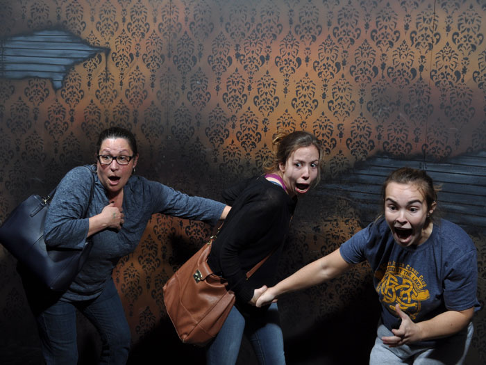 Mother and daughters at haunted house