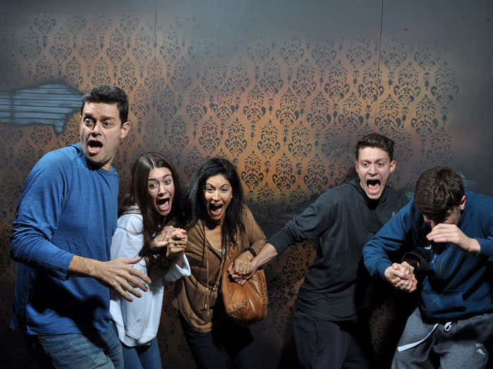 Mother and family screaming inside Nightmares Fear Factory