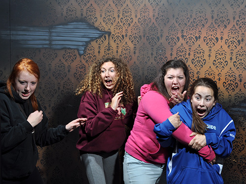 Group of girls scared at Nightmares